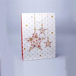 Сумочка бумажная с блестками НГ 55*40*15см