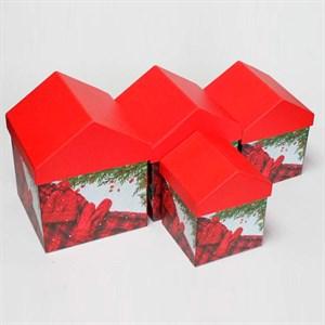 Набор коробок Новый Год домик 15*15*18см 4шт