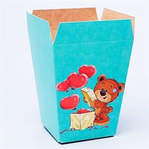 Плайм пакет для цветов 150*120/90 Мишка с шарами