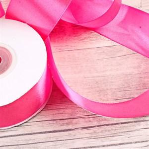 Лента атлас 38мм х 25 м К ярко-розовая