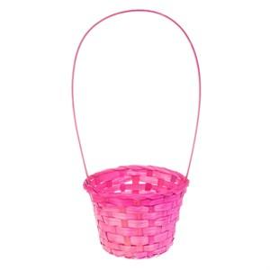 Корзина плетеная бамбук 13*9,5 28см розовый