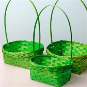 Корзина плетеная бамбук 16*14см зеленая