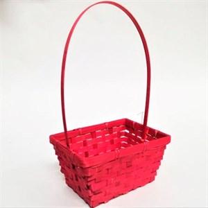Корзина плетеная бамбук 19*14,5 37см красный
