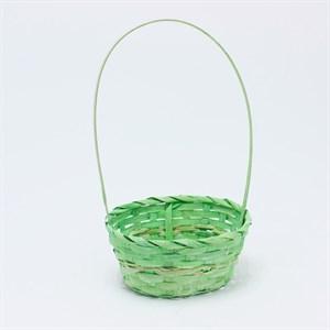 Корзина плетеная бамбук 20*15 10см зеленая