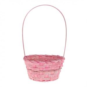 Корзина плетеная бамбук 20*15 10см розовая
