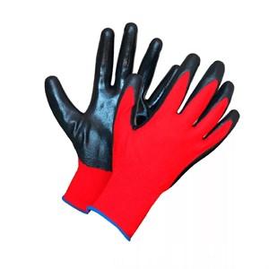 Перчатки нейлоновые Люкс с нитрил.покрыт. красно-черные