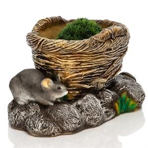 Кашпо Корзина с мышатами - фото 76986