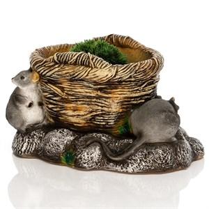 Кашпо Корзина с мышатами - фото 76987