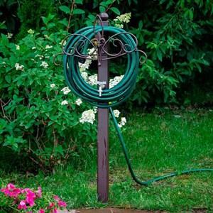 Колонка садовая металл с держателем шланга лилия 54-638