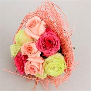 Каркас для букета 25 см ротанг светло-розовый
