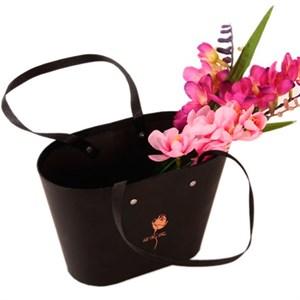 Коробка для цветов 22,5*13,5*15,2 Сумочка черная