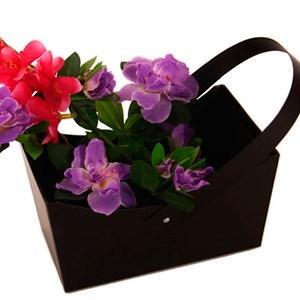 Коробка для цветов 22*13*12 Лукошко прямоугольное черная