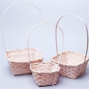 Набор корзин плет бамбук 19*19*9/32см 3 шт белый