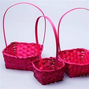 Набор корзин плет бамбук 19*19*9/32см 3 шт розовый