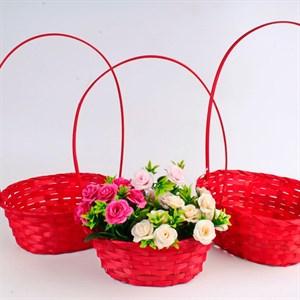 Набор корзин плет бамбук 27*21*10/38см 3 шт красный
