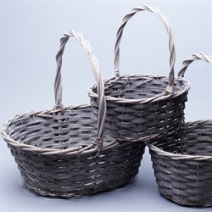 Набор корзин плет ива 39*30*15*37см 3 шт Серый