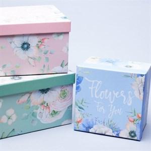 Набор коробок квадрат 19*19*12см 3шт цветы