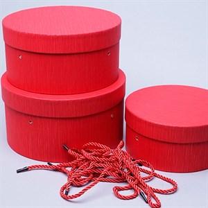 Набор коробок шляпных 22*12см 3шт красный