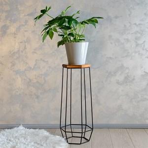 Подставка для цветов металл с деревом Лофт 66-410 - фото 81145