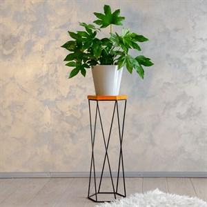 Подставка для цветов металл напольная с деревом Лофт 66-412