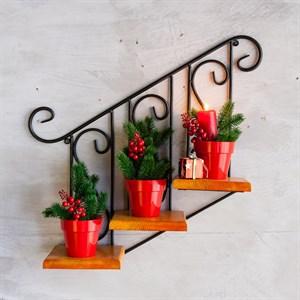 Подставка 13-813 настенная Лестница с деревом на 3 цветка
