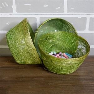 Корзина Диффенбахия зеленое яблоко из сизаля