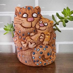 Кашпо Кошка с котенком 13*21см 1,1л