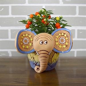 Кашпо Слон 19*15см желтый