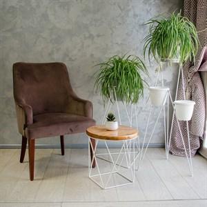 Стол журнальный Лофт металл белый со светлым деревом 66-119 - фото 81559