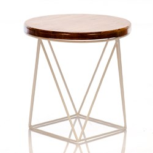 Стол журнальный Лофт металл белый со светлым деревом 66-119 - фото 81560