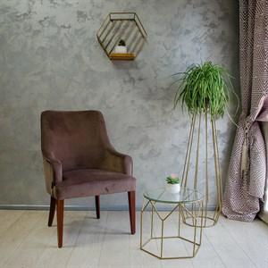 Стол журнальный металл под бронзу со стеклом Лофт 66-117