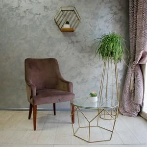 Стол журнальный Лофт металл бронза со стеклом 66-116
