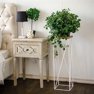 Подставка напольная для цветов металл с деревом Лофт 66-417