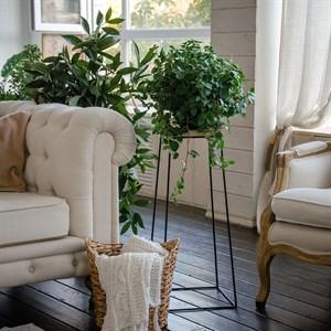 Подставка для цветов металл и дерево Лофт 66-414