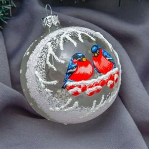 Шар новогодний Снегири ручная работа