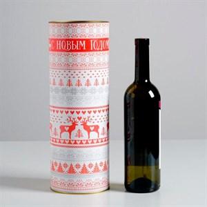 Тубус под бутылку С Новым Годом 10х34см