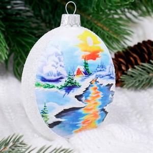 Елочное украшение Морозный день медальон ручная роспись