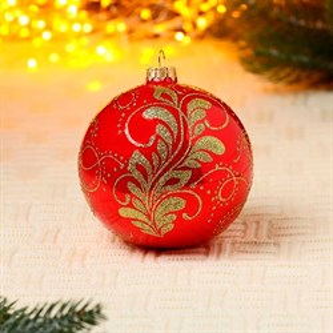 Шар Новогоднее перо на красном глянце 10см