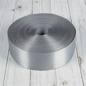 Лента атлас 25мм х 25 м К серебро