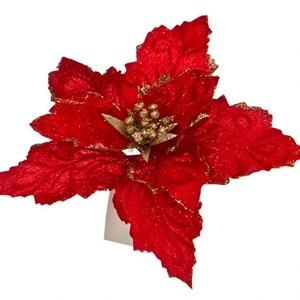 Цветок Пуансеттия на клипсе 20см красный