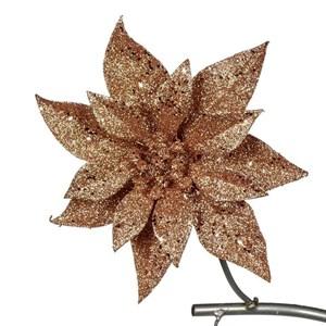 Цветок Пуансеттия на клипсе 20см золото
