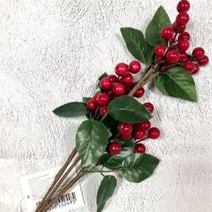 Ветка с ягодами и листьями 62см красный