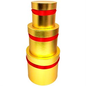 Набор коробок Цилиндры Макси 24*20*15см 3шт золотой