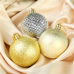 Набор шаров пластик Призма 6см 6шт серебристо-золотой