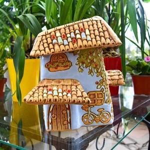 Кашпо Таскана домик для цветов 24*22*20см 2,7л голубая