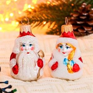 Набор елочных игрушек Дед Мороз и Снегурочка 2шт 9см