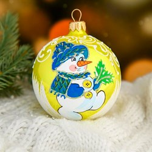 Шар новогодний Снеговик снежный 8,5см