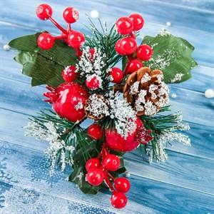 Ветка декор Зимние грезы гранат ягодки красные 15см