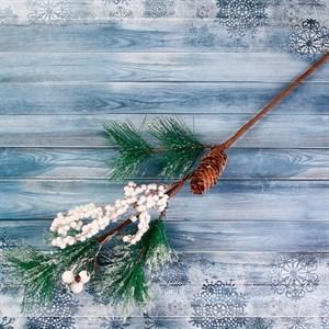 Ветка декор Зимние грезы хвоя с шишкой и ягодами 50см