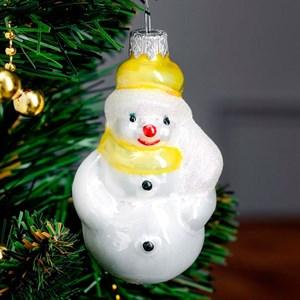 Елочная игрушка Снеговик с метлой 11см